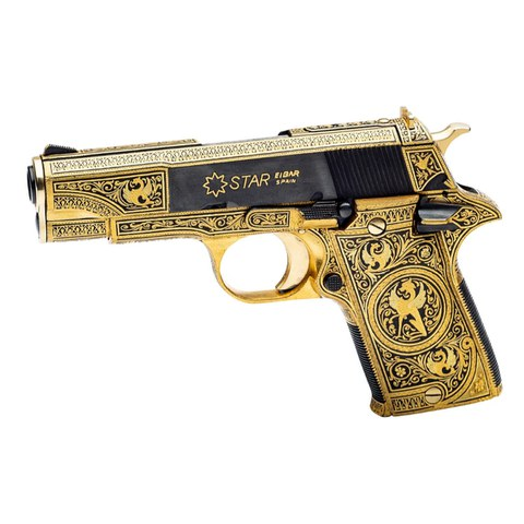 Pistola Star damasquinada por María Jesús Berasaluze, modelo PD